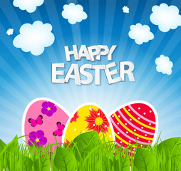 Happy Easter Spring Background Vector Illustration