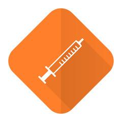 medicine orange flat icon syringe sign