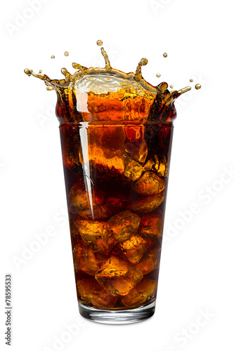 canvas print picture cola ice splash