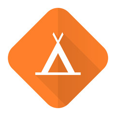 camp orange flat icon