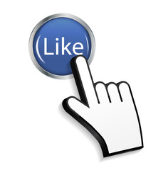 Mouse Hand Cursor on Circle Glossy Like Button Vector Illustrati