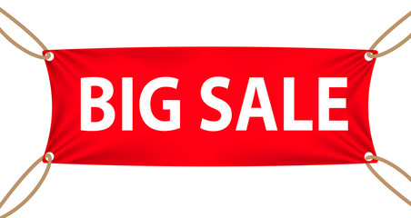 Textile banners with Big Sale Text Suspended by Ropes by all Fou
