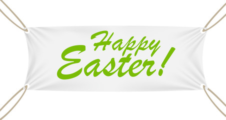 Textile Banner with Happy Easter Text. Vector Illustration