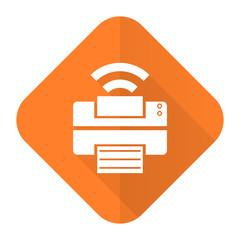 printer orange flat icon flash memory sign