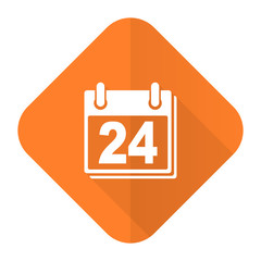 calendar orange flat icon organizer sign agenda symbol