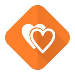 love orange flat icon sign hearts symbol