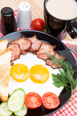 fried eggs with bacon on black dish