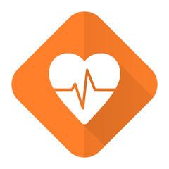 pulse orange flat icon heart rate sign