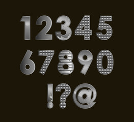 Silver font digits