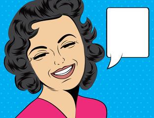 pop art cute retro woman in comics style laughing