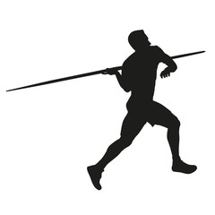 Javelin throw. Athlete silhouette