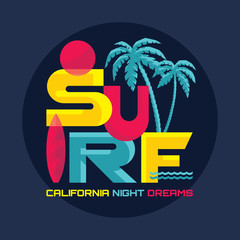 Surf - vector logo badge for T-shirt and prints.
