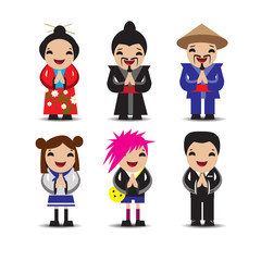 Japanese people. Icons. Vector Set.