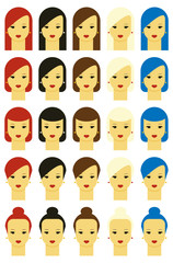Vector illustration of girls with various hair styles