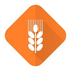 grain orange flat icon agriculture sign