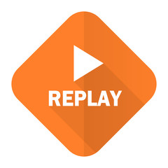 replay orange flat icon