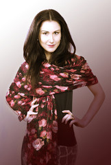 Pretty model with long scarf
