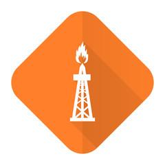 gas orange flat icon oil sign