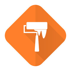 brush orange flat icon paint sign