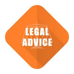 legal advice orange flat icon law sign