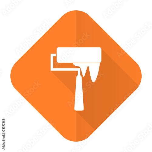 canvas print picture brush orange flat icon paint sign