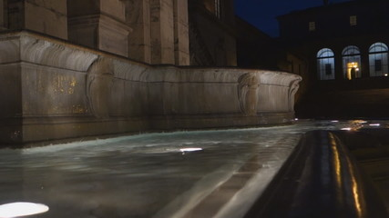 Fountain on the Capitoline Hill at night, in Rome, Italy