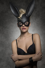 girl with dark rabbit mask