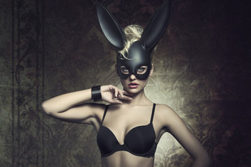 girl with fetish bunny mask