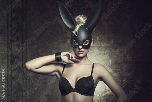 girl with fetish bunny mask - 78597591
