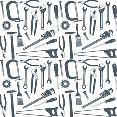 Hand tools vector seamless pattern background 2