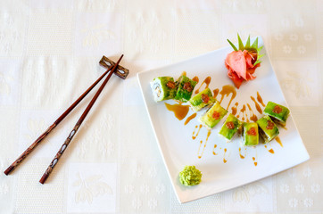 Rolls, wasabi and ginger