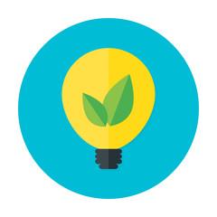 Eco idea flat circle icon