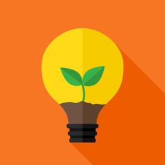 Growing plant inside idea lamp