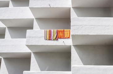 White hotel balconies