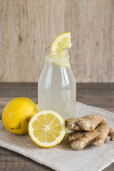 Detox Lemon and Ginger Drink in a Bottle