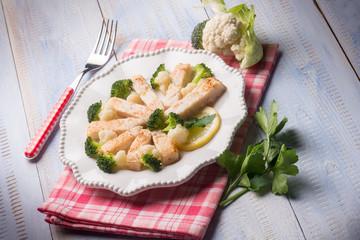 swordfish with broccoli and cauliflower salad