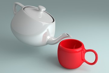 Teapot and red cup