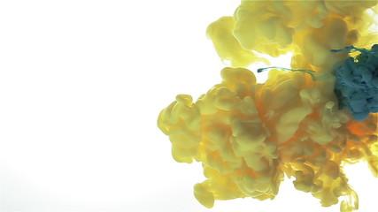 Lemon yellow, blue red color mix. Color drop.