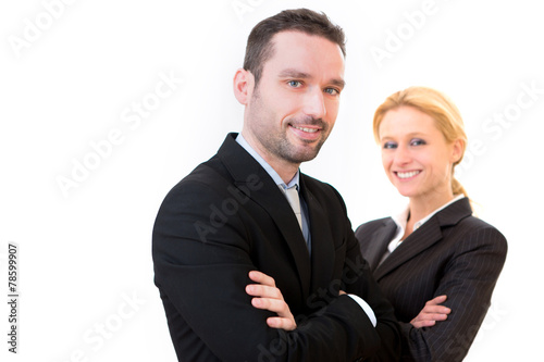 canvas print picture Businessman and business woman on a white background