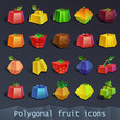 Polygonal fruit icons