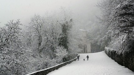 People walking in the snowfall