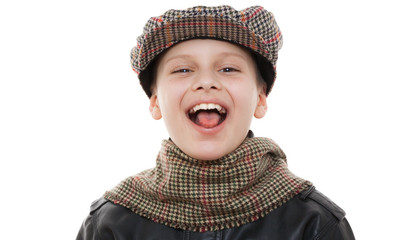 kid scarf cap fun showing tongueportrait isolated