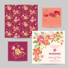 Set of Wedding Floral Invitation Cards - Save the Date, RSVP