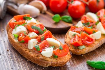 Bruschetta with cherry tomato and mozzarella