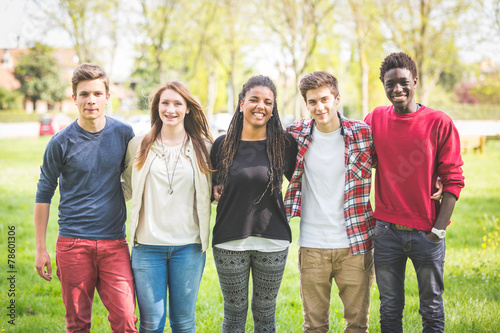 Multiethnic group of teenagers outdoor - 78601306