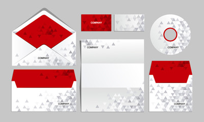 Red corporate origami identity template. For brandbook