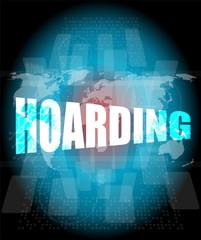 hoarding word on digital touch screen