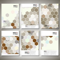 Geometric backgrounds, abstract hexagonal patterns. Brochure