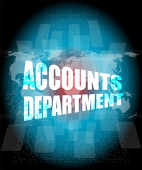 accounts departments words on digital screen background