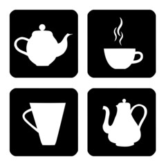 Icon set with cups and teapot with tea and coffee
